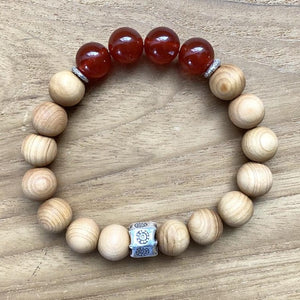 Carnelian and Sandalwood Bracelet