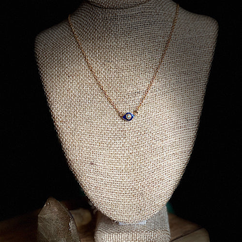 Small Evil Eye Enamel and Pave Necklace