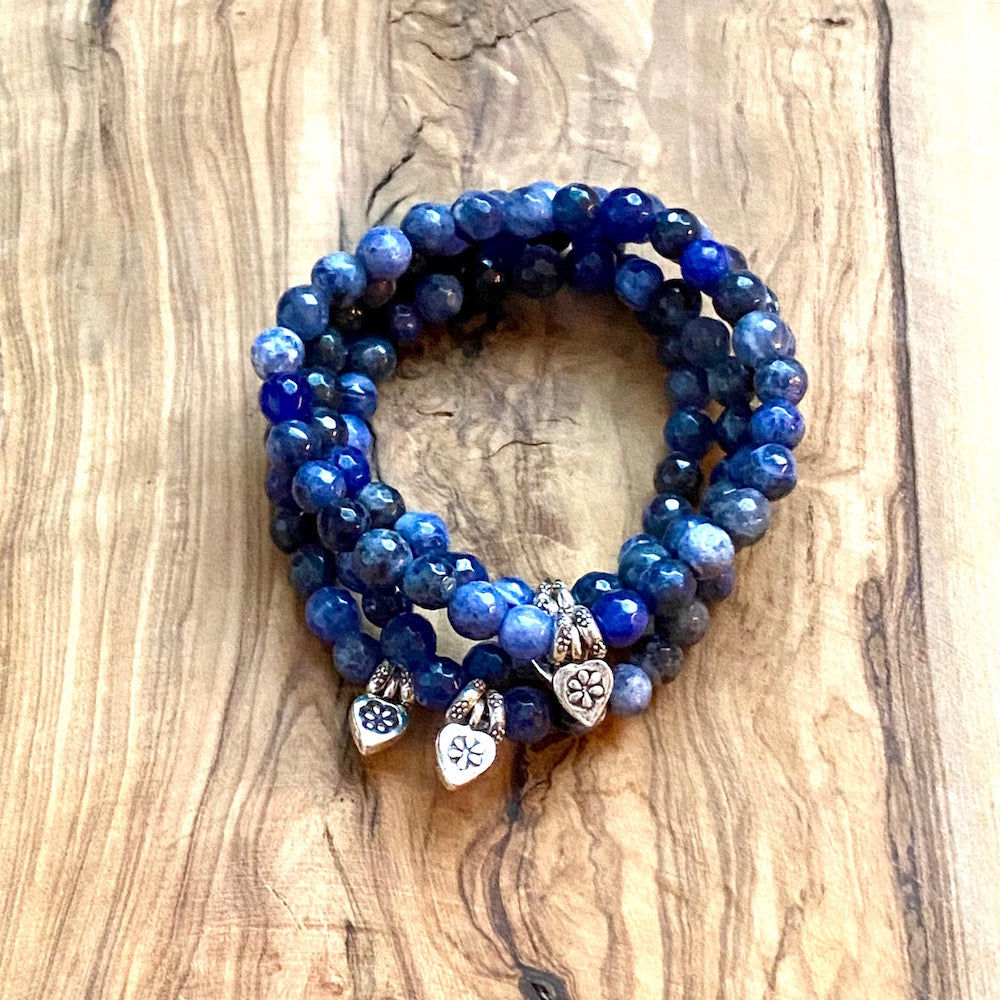 I Have The Right To: Sodalite and Heart Charm Bracelet
