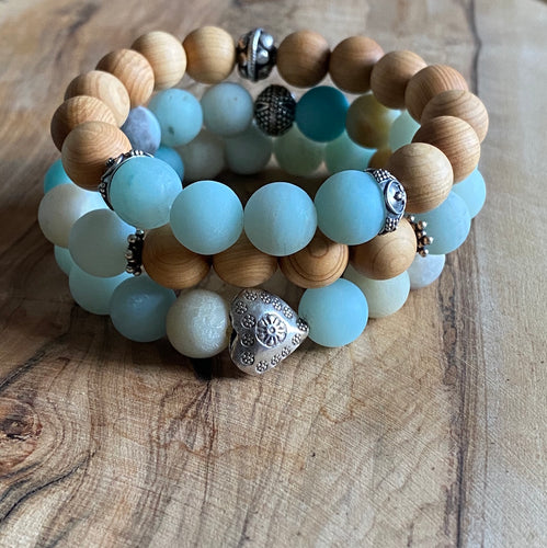 Amazonite and Sandalwood Bracelet Set