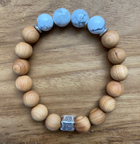 Howlite and Sandalwood Bracelet ~ On Sale!