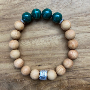 Malachite and Sandalwood Bracelet