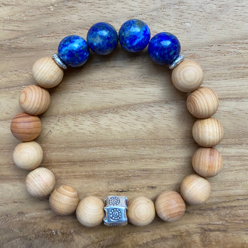 Lapis Lazuli and Sandalwood Bracelet ~ On Sale!