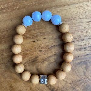 Blue Lace Agate and Sandalwood Bracelet