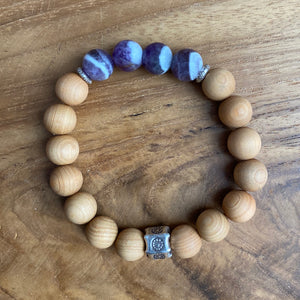 Dog Tooth Amethyst and Sandalwood Bracelet