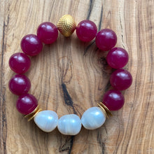 Load image into Gallery viewer, The Ella: Cherry Jade + Fresh Water Baroque Pearls Bracelet