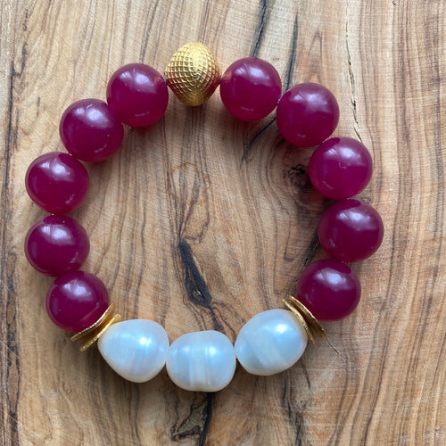 The Ella: Cherry Jade + Fresh Water Baroque Pearls Bracelet