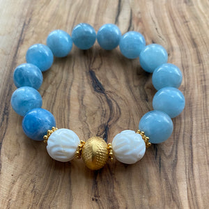 The Belle: Aquamarine and Carved Tridacna Bracelet
