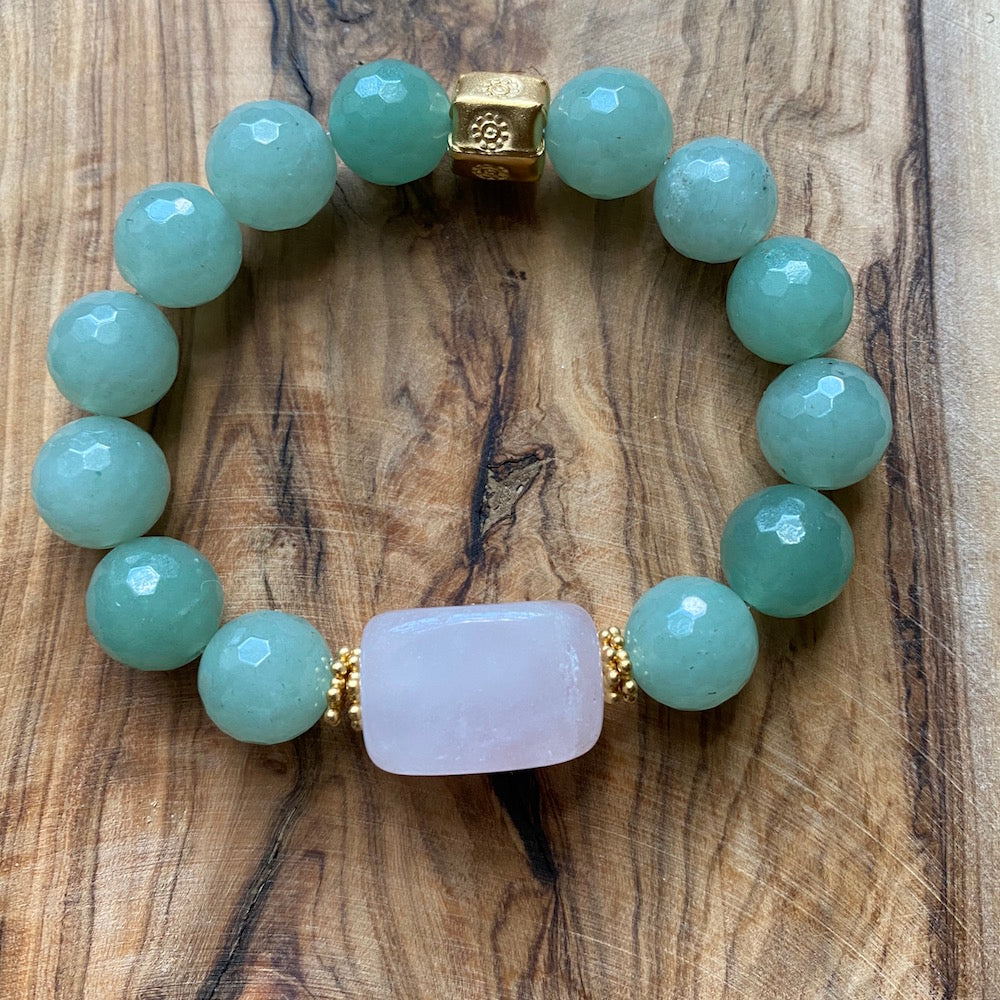 The Jen: Rose Quartz and Serpentine Bracelet ~ On Sale!