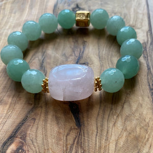 The Jen: Rose Quartz and Serpentine Bracelet