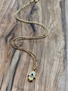 Rouge & Noir: Diamond Pave and Enamel Hamsa Necklace ~ On Sale