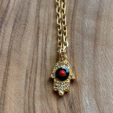 Load image into Gallery viewer, Rouge & Noir: Diamond Pave and Enamel Hamsa Necklace ~ On Sale