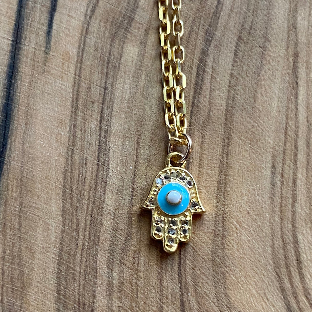 Diamond Pave and Enamel Hamsa Necklace ~ On Sale!