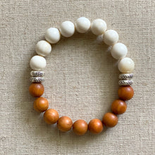 Load image into Gallery viewer, Sandalwood and Tridacna Shell Bracelet with Sterling Silver Beads