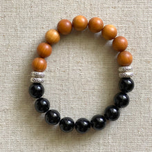 Load image into Gallery viewer, Sandalwood and Black Tourmaline bracelet.  Deeply grounding and healing.