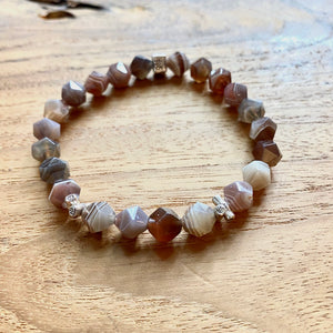 Botswana Agate Star Faceted Bracelet
