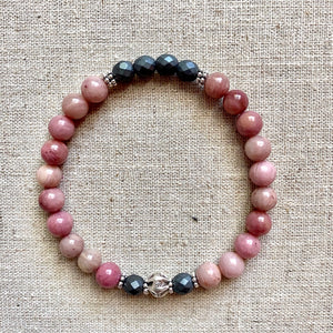 The Lindsay: Rhodonite and Hematite Wrap Bracelet