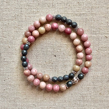 Load image into Gallery viewer, The Lindsay: Rhodonite and Hematite Wrap Bracelet