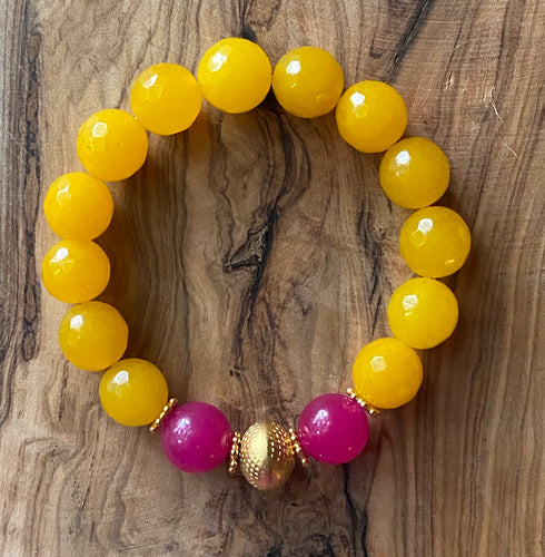 The Etta: Yellow Jade and Hot Pink Chalcedony Bracelet