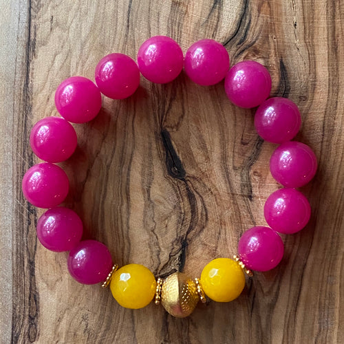 The Rosie: Pink Chalcedony and Yellow Jade Bracelet