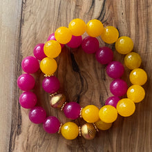 Load image into Gallery viewer, The Etta:  Yellow Jade and Hot Pink Chalcedony Bracelet