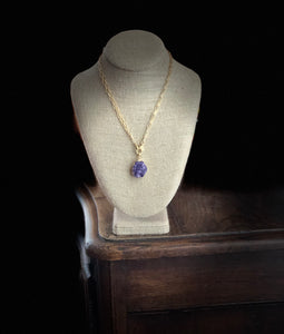 Amethyst Druzy with Pave Diamond Clasp Necklace~40% OFF