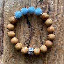 Load image into Gallery viewer, Aquamarine and Sandalwood Bracelet