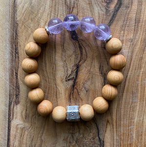 Lavender Amethyst and Sandalwood Bracelet