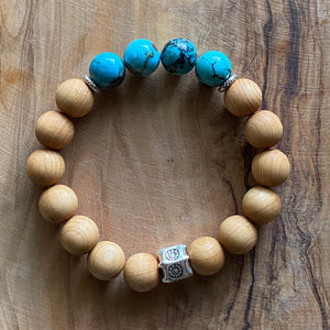 Turquoise and Sandalwood Bracelet