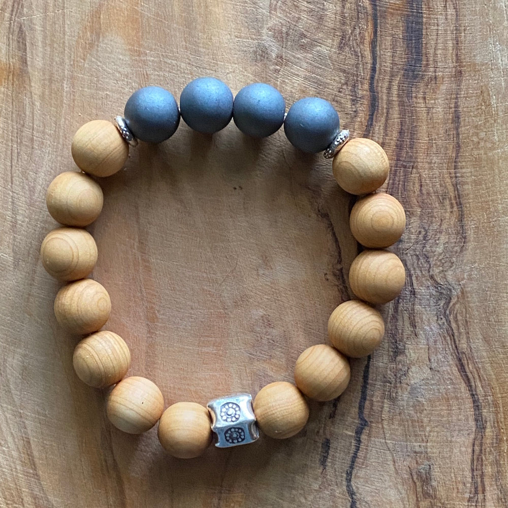 Hematite and  Sandalwood Bracelet