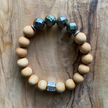 Load image into Gallery viewer, Pyrite and  Sandalwood Bracelet