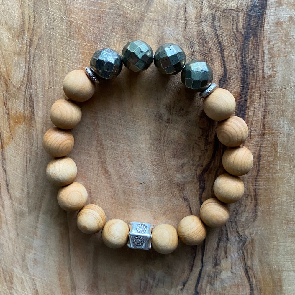 Pyrite and  Sandalwood Bracelet