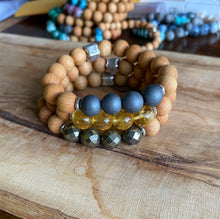 Load image into Gallery viewer, Hematite and  Sandalwood Bracelet