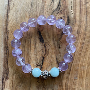 Lavender Amethyst and Aquamarine Bracelet with Sterling Silver Beads