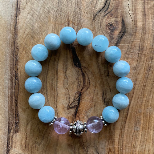 Aquamarine and Lavender Amethyst Bracelet with Sterling Silver Beads
