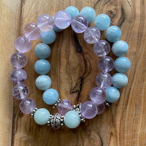 Black Girls Matter Bracelet Set: Aquamarine + Lavender Amethyst with Sterling Silver Beads
