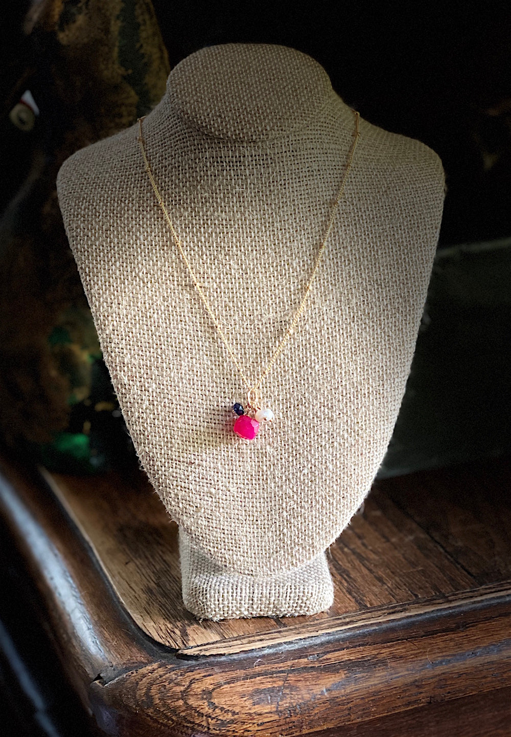 Hot Pink Chalcedony Trio Necklace