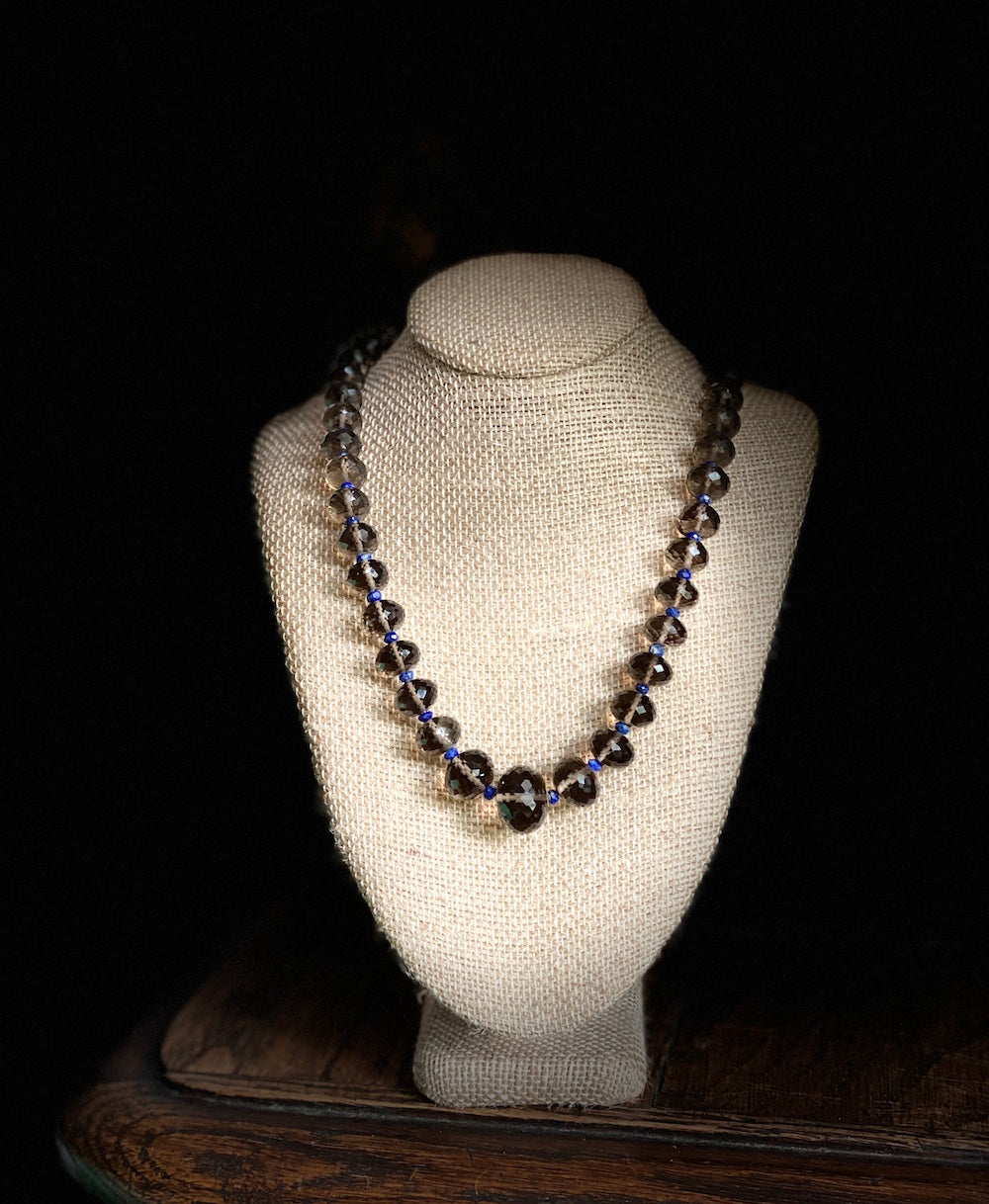 One of A Kind Smoky Quartz and Lapis Lazuli Necklace