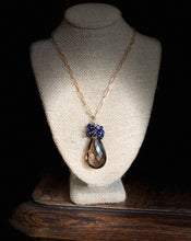 Load image into Gallery viewer, Large Smoky Quartz Drop and Sapphire Necklace