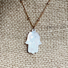 Load image into Gallery viewer, Mother of Pearl Hamsa Necklace ~ On Sale!