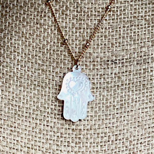 Mother of Pearl Hamsa Necklace ~ On Sale!