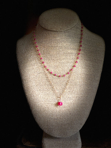Double Chain with Pink Chalcedony & Ruby Necklace