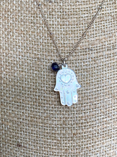 Mother of Pearl Hamsa with Sapphire accent Necklace