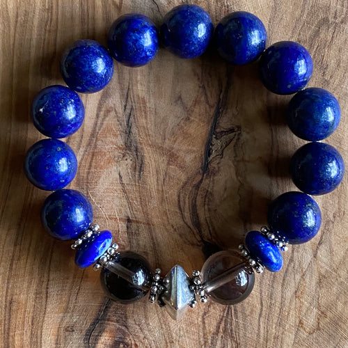 Lapis Lazuli and Smoky Quartz (12mm) Bracelet ~ 20% Off BFCM SALE!