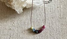 Load image into Gallery viewer, Simple handcrafted Tourmaline Necklace on a Silk Cord