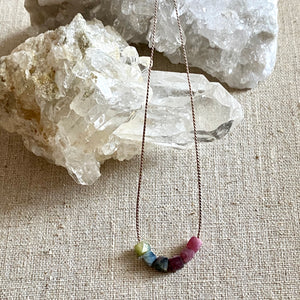 Simple Multi-Color Tourmaline Necklace on a Silk Cord