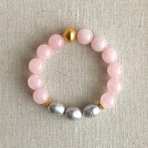 The Margaux: Rose Quartz and Fresh Water Peacock Pearls Bracelet ~ On Sale!