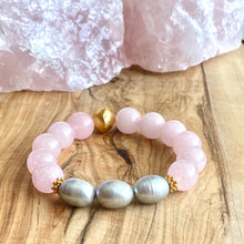 Load image into Gallery viewer, The Margaux: Rose Quartz and Fresh Water Peacock Pearls Bracelet ~ On Sale!