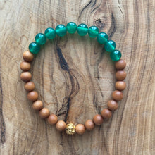 Load image into Gallery viewer, Petite Green Onyx and Sandalwood Bracelet