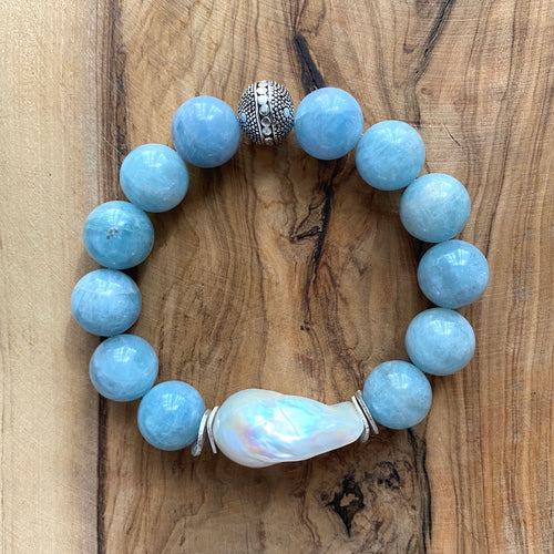 The Liz: Aquamarine and Baroque Pearl Bracelet